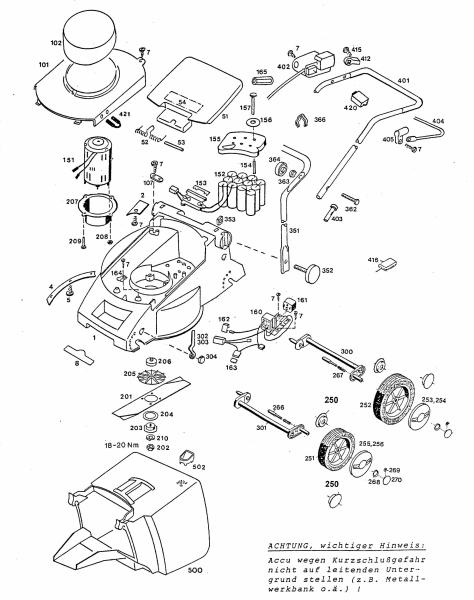 Ersatzteile Wolf-Garten Akku Rasenmäher ohne Antrieb 6.32 Accu Typ: 4933000 Serie C  (1996) Grundgerät