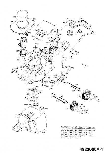 Ersatzteile Wolf-Garten Akku Rasenmäher ohne Antrieb 2.32 Accu.42 E Typ: 4923000 Serie A  (1994) Grundgerät