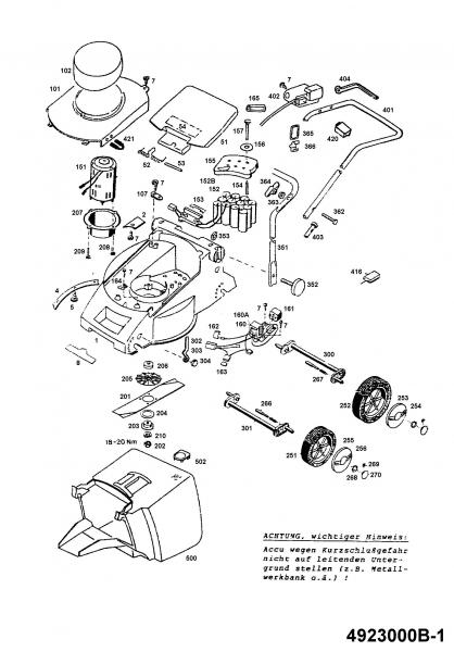 Ersatzteile Wolf-Garten Akku Rasenmäher ohne Antrieb 2.32 Accu.42 E Typ: 4923000 Serie B  (1995) Grundgerät
