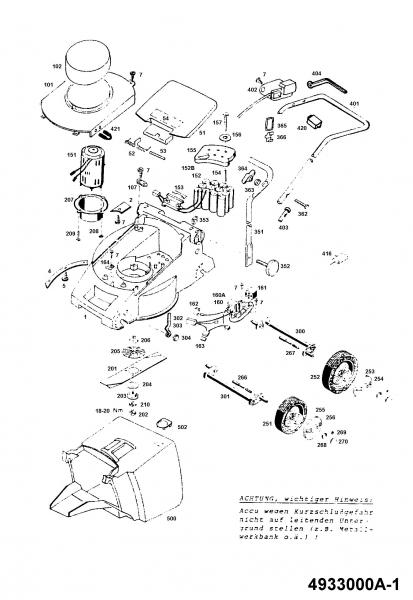 Ersatzteile Wolf-Garten Akku Rasenmäher ohne Antrieb 6.32 Accu Typ: 4933000 Serie A  (1994) Grundgerät