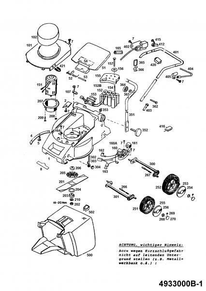 Ersatzteile Wolf-Garten Akku Rasenmäher ohne Antrieb 6.32 Accu Typ: 4933000 Serie B  (1995) Grundgerät