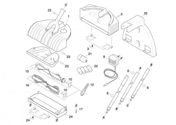 Ersatzteile Kärcher elektr. Kehrmaschinen Geraet Einzelteile K 50 *EU 1.258-101.0