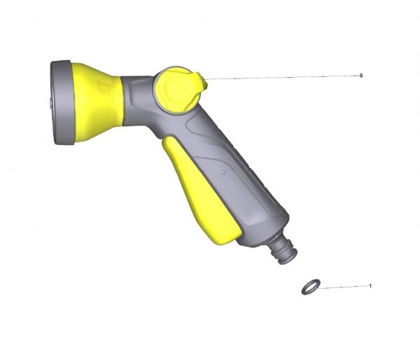 Ersatzteile Kärcher Bewässerungssysteme Einzelteile Multifunktions-Spritzpistole mit Etikett 2.645-274.0