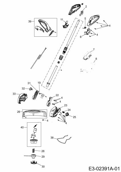 Ersatzteile Wolf-Garten Akku Rasentrimmer Li-Ion Power GTB 815 Typ: 41BEWU-K650  (2016) Grundgerät