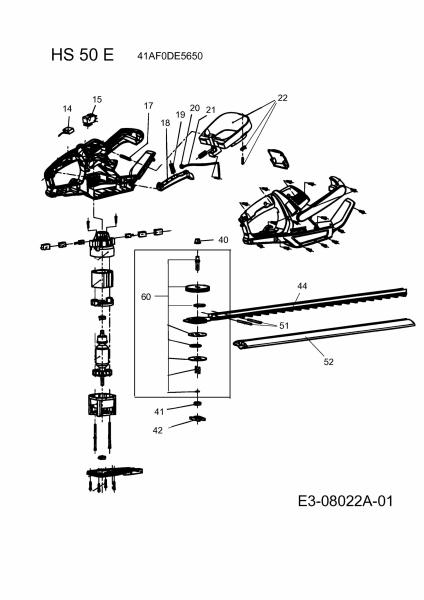 Ersatzteile Wolf-Garten Elektroheckenschere HS 50 E Typ: 41AF0DE5650  (2018) Grundgerät