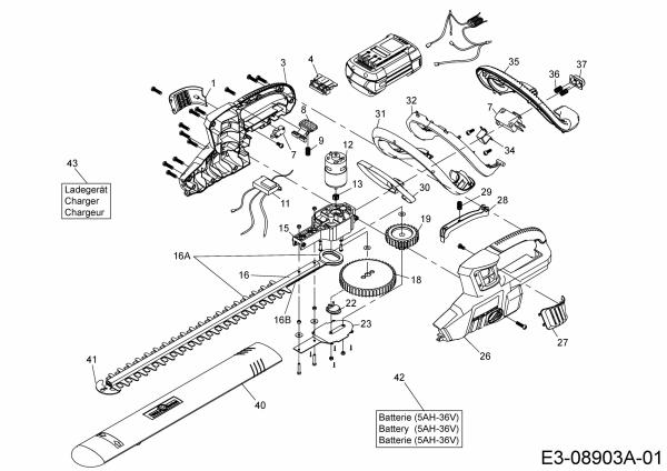 Ersatzteile Wolf-Garten Akku Heckenschere Li-Ion Power HSB 36 Typ: 41AJLHTC650  (2016) Grundgerät