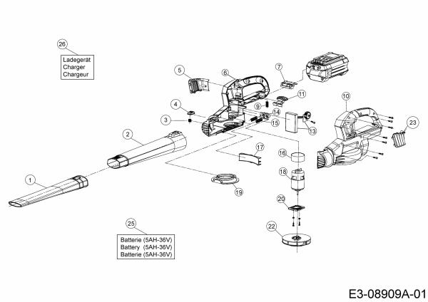 Ersatzteile Wolf-Garten Akku Laubbläser Li-Ion Power LBB 36 Typ: 41AJLCBC650  (2020) Grundgerät