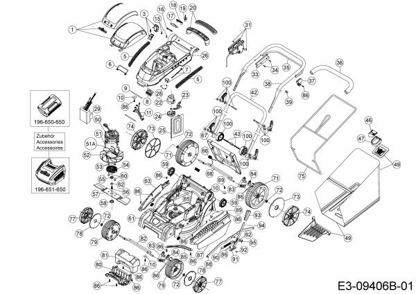Ersatzteile Wolf-Garten Akku Rasenmäher ohne Antrieb 72V Li-Ion Power 37 Typ: 18AKHJ23650R  (2017) Grundgerät