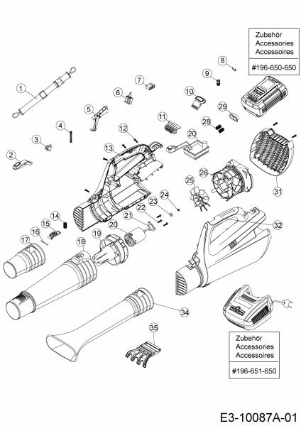 Ersatzteile Wolf-Garten Akku Laubbläser 72V Li-Ion Power 24 B Typ: 41AA0BO-650  (2018) Grundgerät