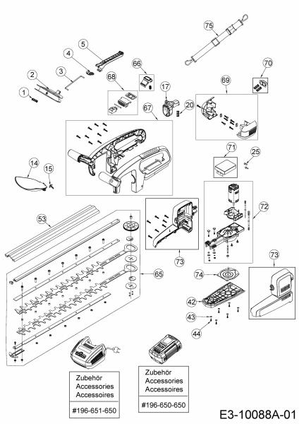 Ersatzteile Wolf-Garten Akku Kettensäge Li-Ion Power CSA 700 Typ: 41AO05-M650  (2016) Grundgerät