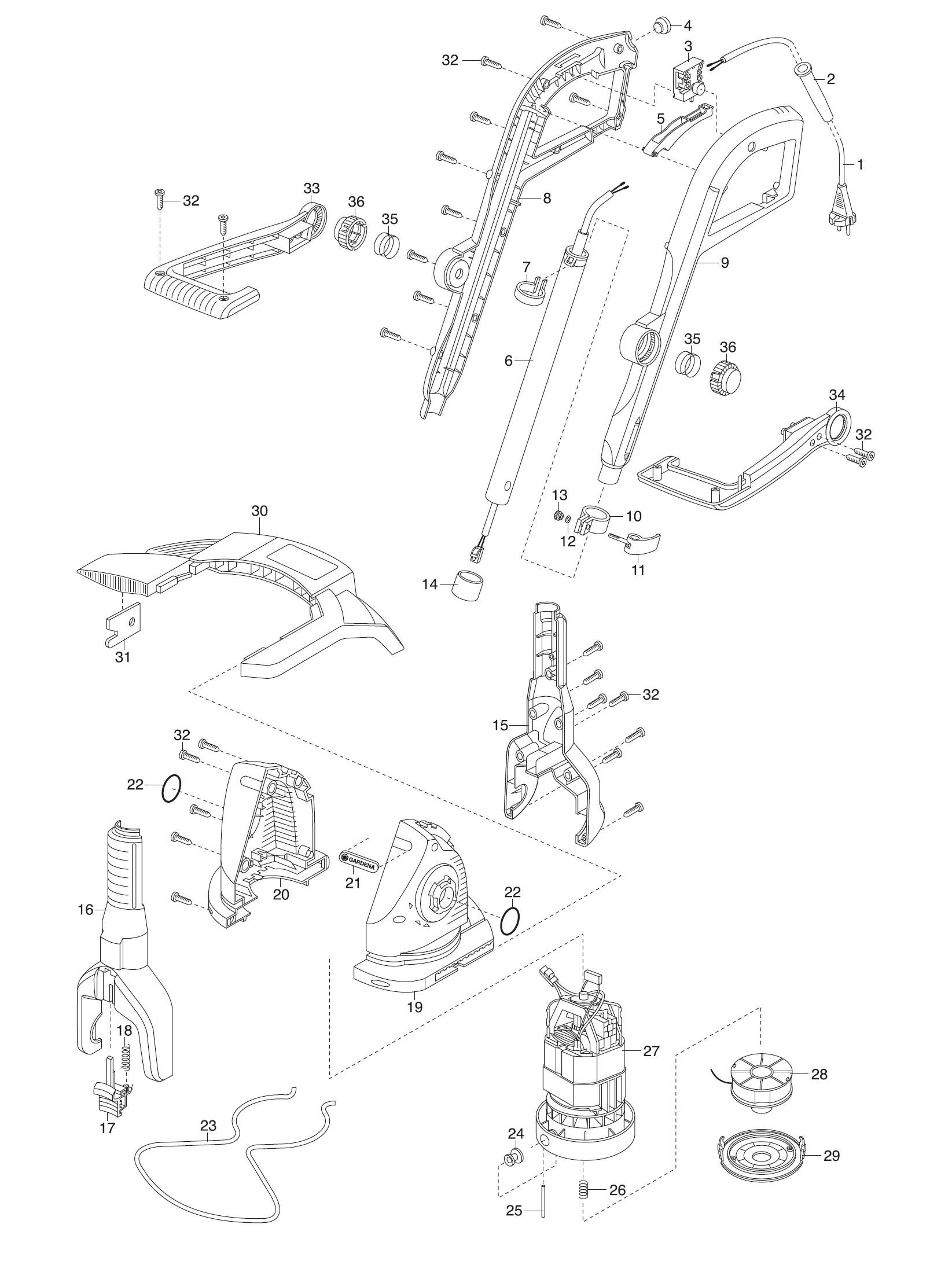 ersatzteile gardena turbotrimmer easycut 400 8846. Black Bedroom Furniture Sets. Home Design Ideas