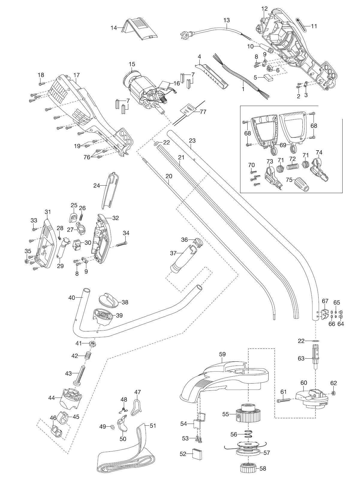 Ersatzteile Gardena Turbotrimmer Procut 800 8851 Ersatzteil Fee