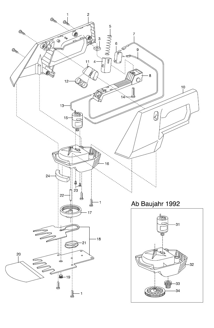 ersatzteile gardena v12 rasenschere rs 10 2150 2252 ersatzteil fee. Black Bedroom Furniture Sets. Home Design Ideas