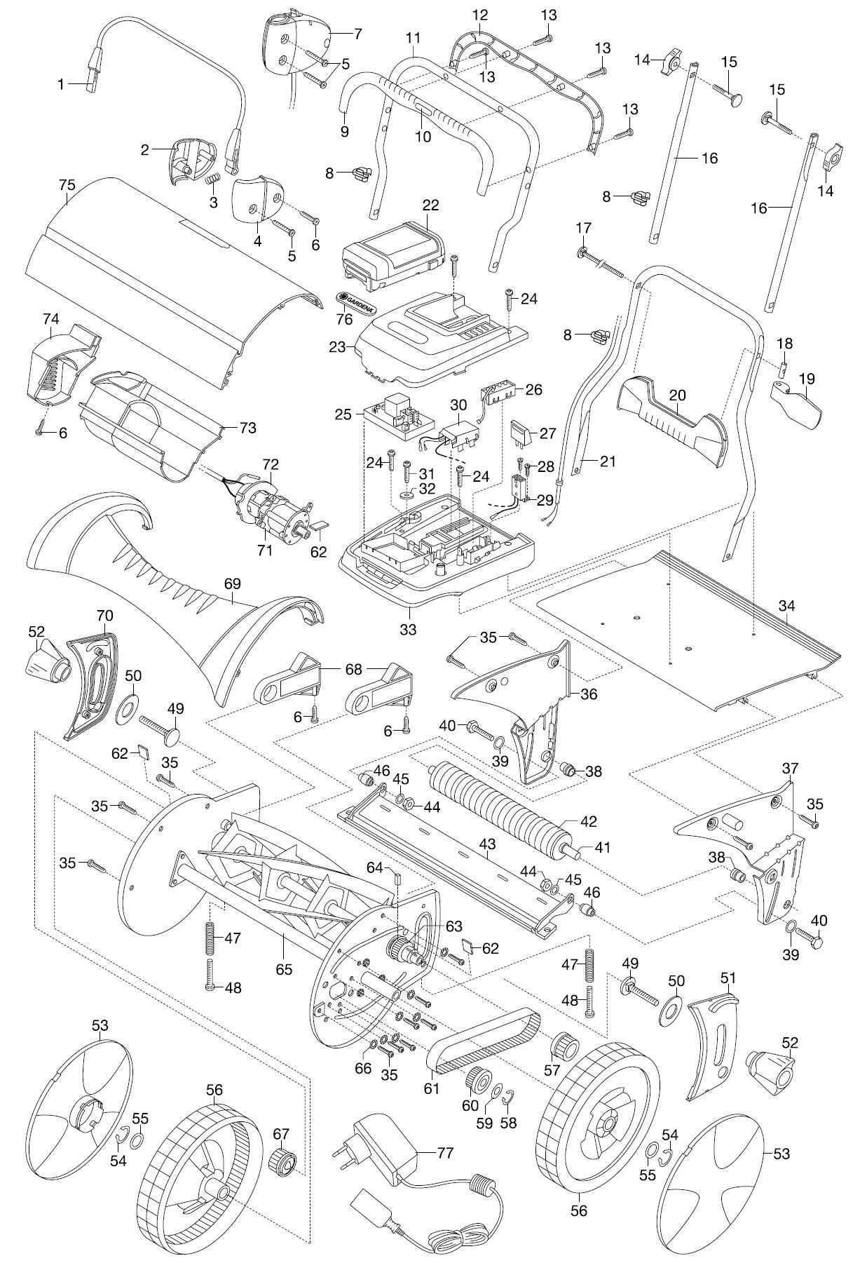 gardena ersatzteile accu spindelm her 380 li 4025. Black Bedroom Furniture Sets. Home Design Ideas