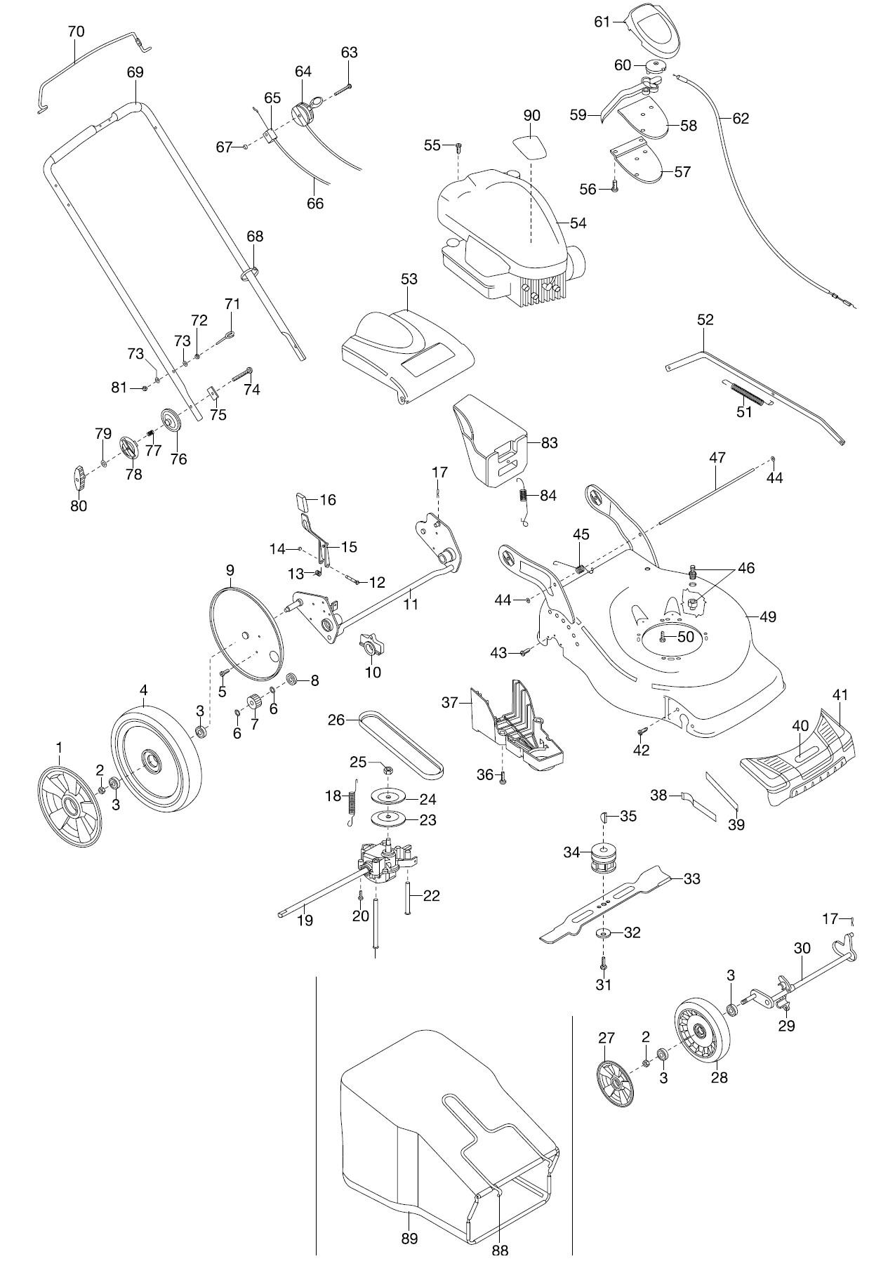 gardena ersatzteile benzin rasenm her 46 vda 4047. Black Bedroom Furniture Sets. Home Design Ideas