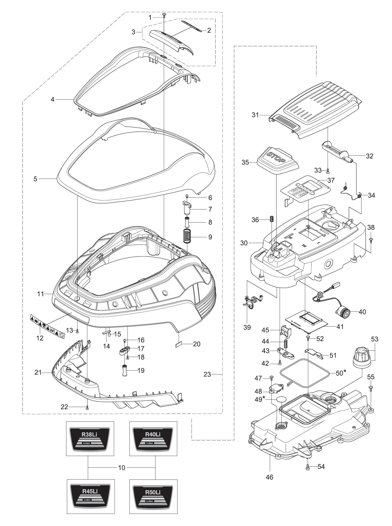 gardena ersatzteile oberteile m hroboter r50li 4077 20 ab. Black Bedroom Furniture Sets. Home Design Ideas