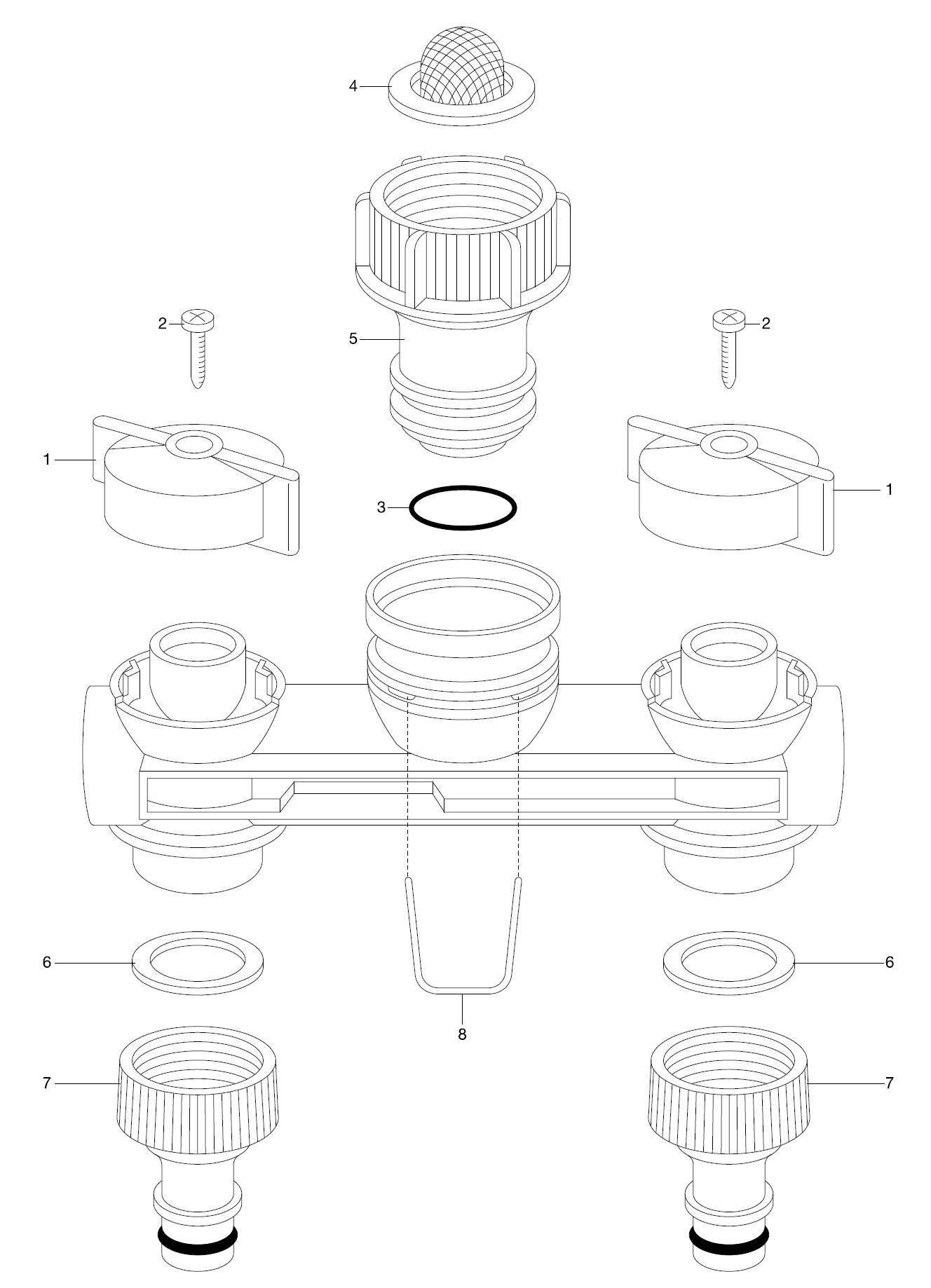 ersatzteile gardena 2 wege verteiler 1210 ersatzteil fee. Black Bedroom Furniture Sets. Home Design Ideas