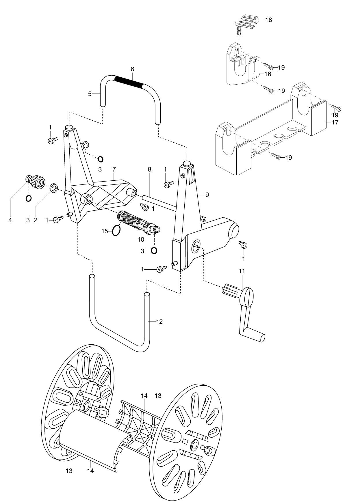 gardena ersatzteile schlauchtr ger 50 mit wandhalterung 2602. Black Bedroom Furniture Sets. Home Design Ideas
