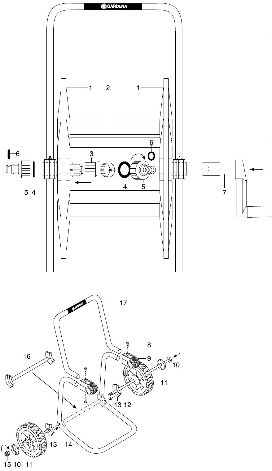 gardena ersatzteile schlauchwagen 60 m 2610 2614 ersatzteil fee. Black Bedroom Furniture Sets. Home Design Ideas