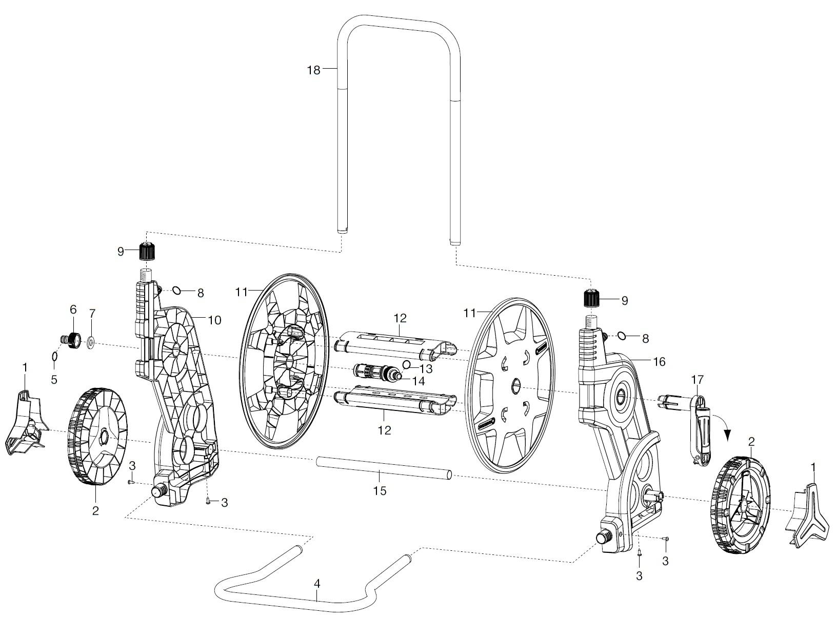 gardena ersatzteile classic schlauchwagen 60 ts 8000 8001 ersatzteil fee. Black Bedroom Furniture Sets. Home Design Ideas