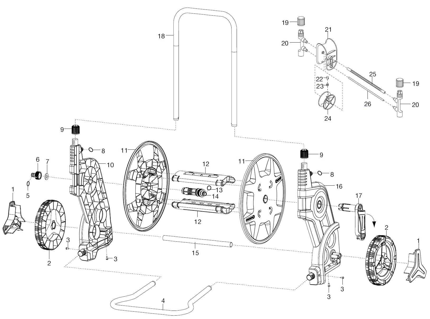 gardena ersatzteile classic schlauchwagen 60 hg 8003 8004. Black Bedroom Furniture Sets. Home Design Ideas