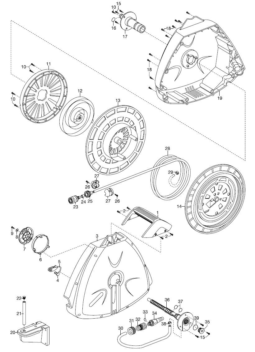 gardena ersatzteile wandschlauchbox 10 roll up automatic 2647 ersatzteil fee. Black Bedroom Furniture Sets. Home Design Ideas