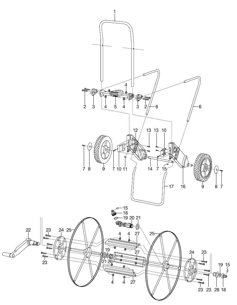 gardena ersatzteile metall schlauchwagen 200 2676. Black Bedroom Furniture Sets. Home Design Ideas