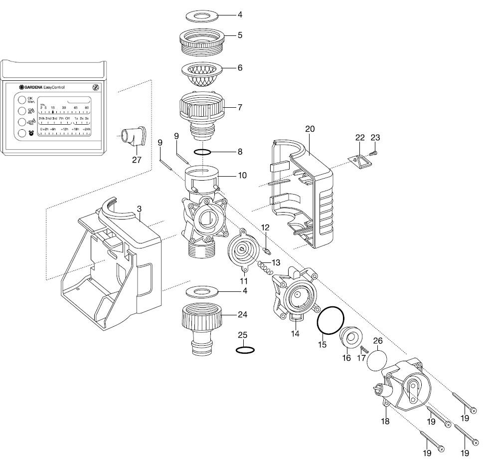ersatzteile gardena bew sserungscomputer easycontrol 1881. Black Bedroom Furniture Sets. Home Design Ideas