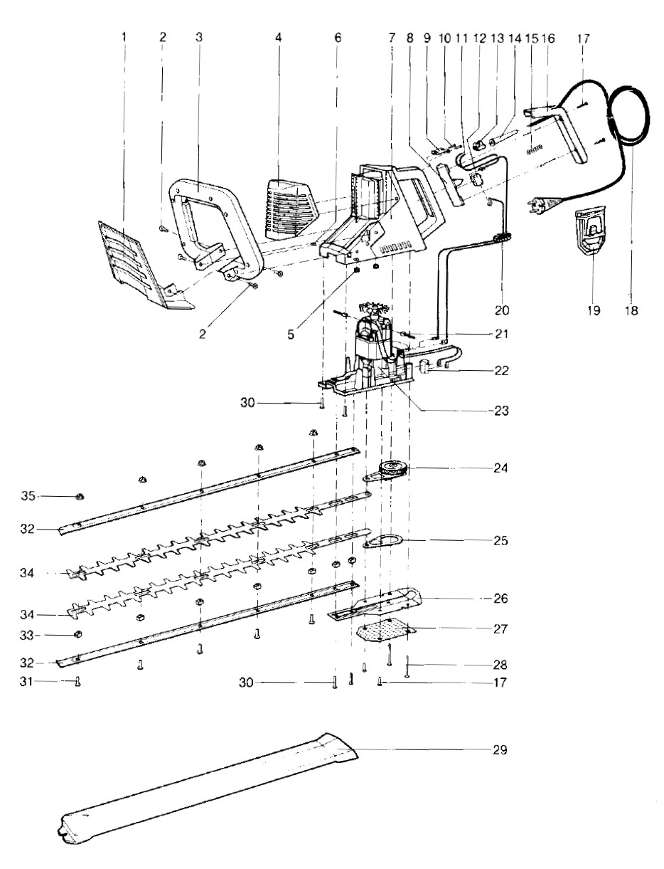 ersatzteile gardena elektro heckenschere 52s 2302 64s 2304 ersatzteil fee. Black Bedroom Furniture Sets. Home Design Ideas