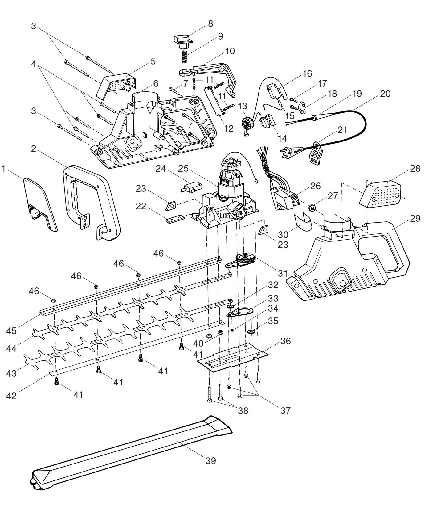 ersatzteile gardena elektro heckenschere 400 pro 2580. Black Bedroom Furniture Sets. Home Design Ideas