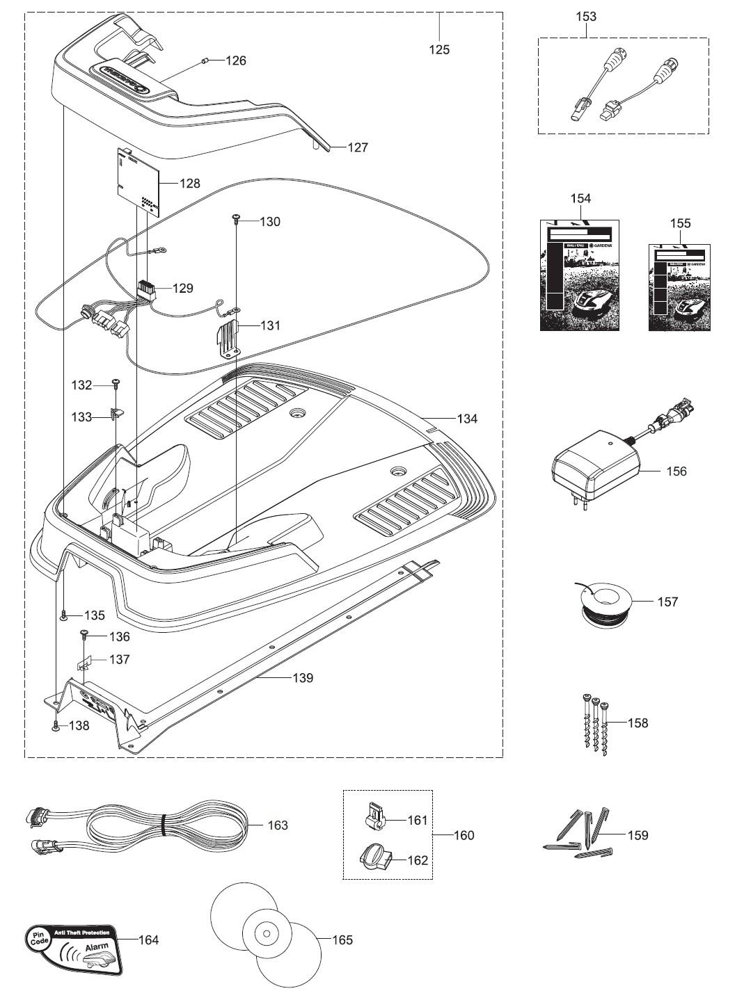 gardena ersatzteile ladestation m hroboter r40li 4071 20 bj nov 2013 2015 seriennummer. Black Bedroom Furniture Sets. Home Design Ideas