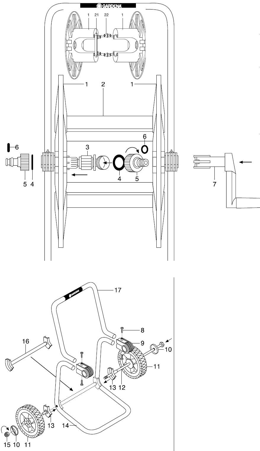 gardena ersatzteile schlauchwagen 100 m 2630 ersatzteil fee. Black Bedroom Furniture Sets. Home Design Ideas