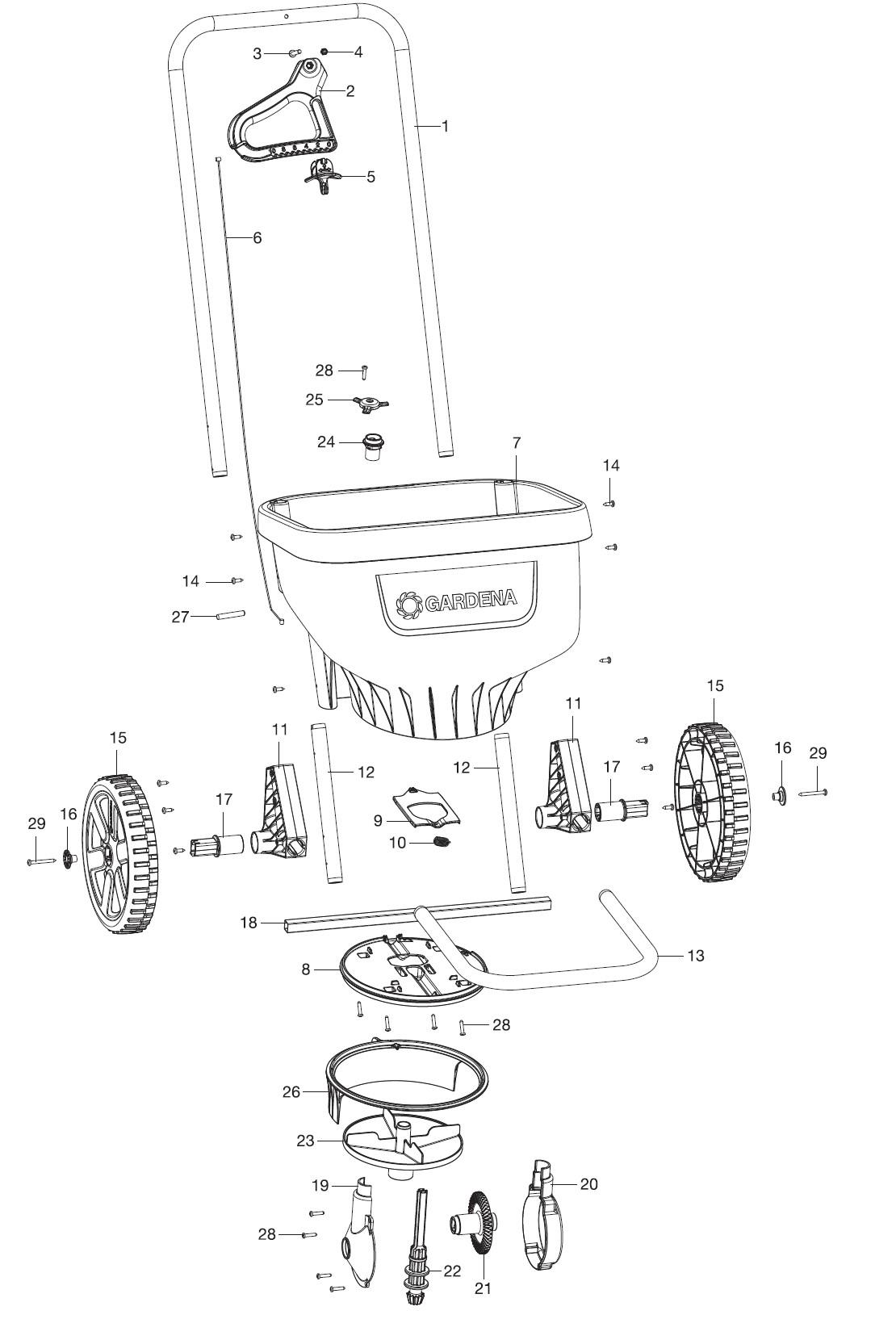 gardena ersatzteile streuwagen xl 436 ersatzteil fee. Black Bedroom Furniture Sets. Home Design Ideas